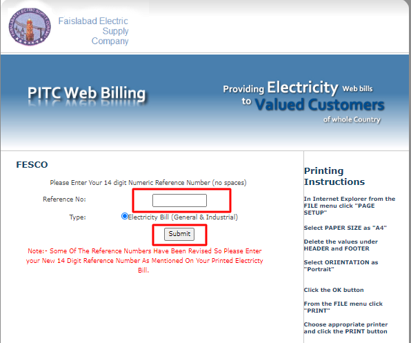 online fesco bill check
